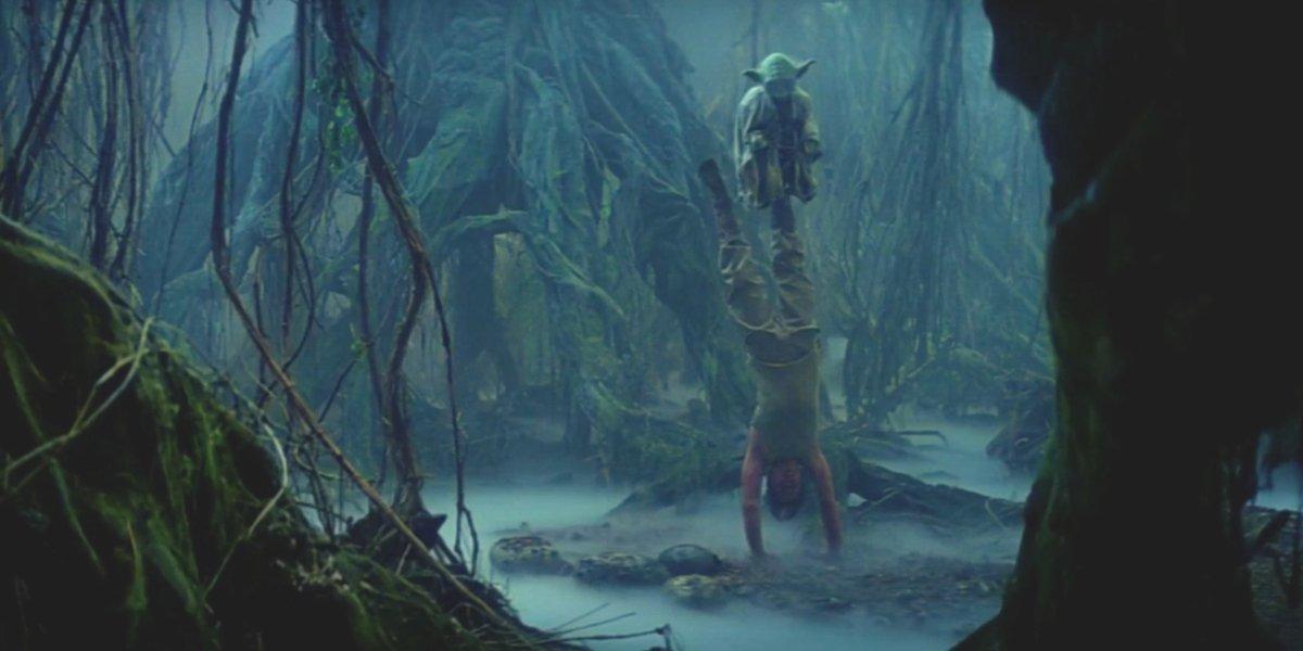 Luke Skywalker and Yoda in The Empire Strikes Back
