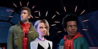 Peter Parker, Gwen Stacy, and Miles Morales, all using spider sense, in Spider-Man: Into the Spider-