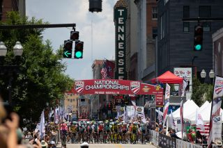 Waiting for the start of the US Pro Road Race in Knoxville