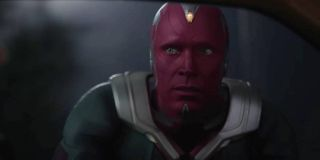 Paul Bettany as Vision looking at Agatha during the Halloween episode of WandaVision