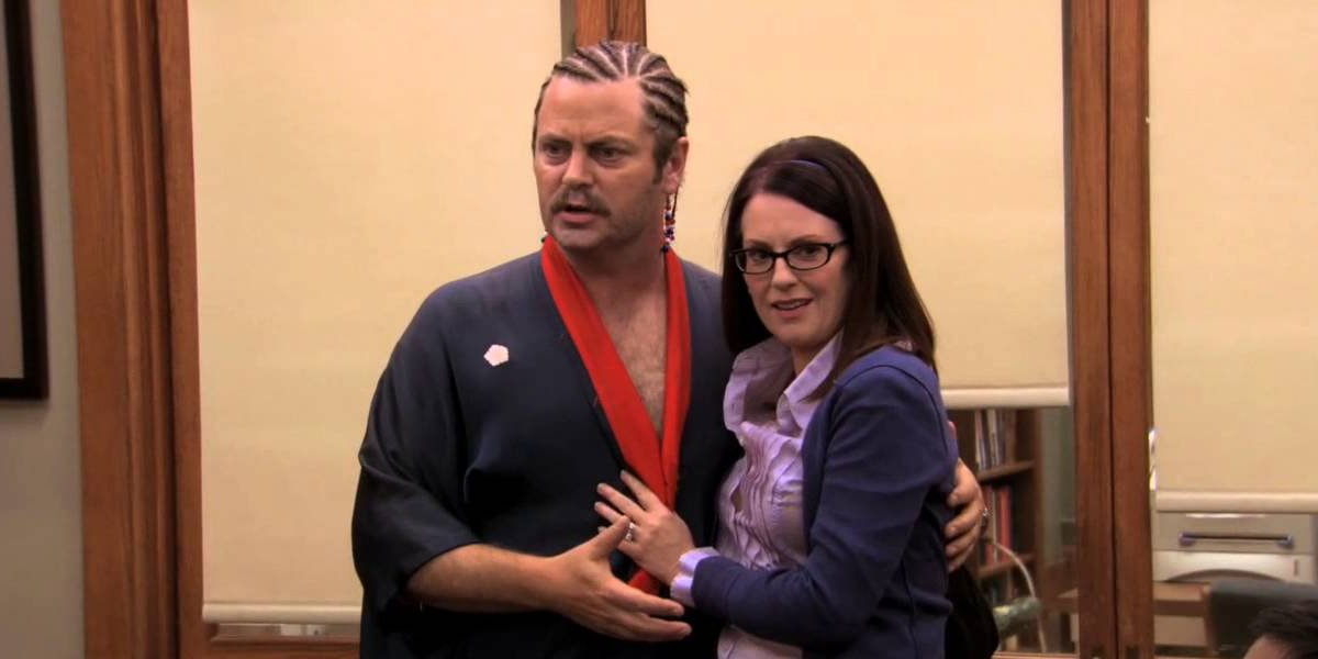 Nick Offerman and Megan Mullally as Ron Swanson and Tammy on Parks and Recreation