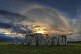 Stonehenge sunset with sun halo