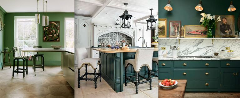 Three green kitchen ideas, including a green painted scheme, a pale gray room with antique green island, and a bottle green scheme with marble backsplash.