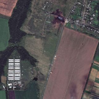 A satellite photo of the MH17 crash site.