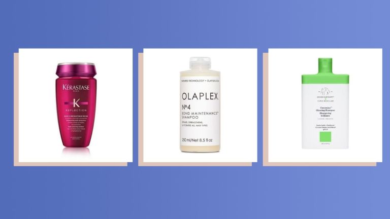 A composite image of three of the best shampoo for colored hair product picks against a purple background