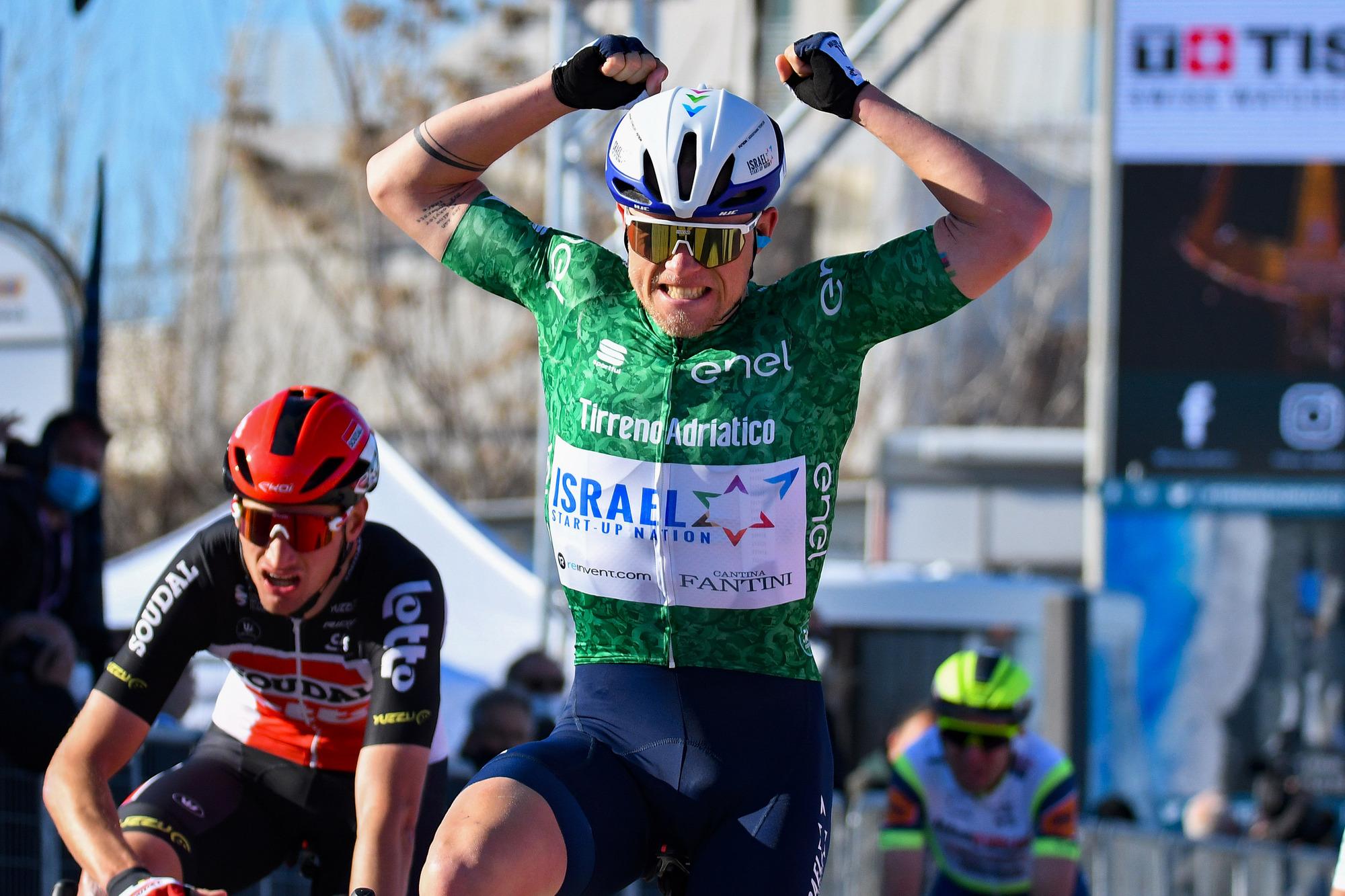 Tirreno Adriatico 2021 56th Edition 6th stage Castelraimondo Lido di Fermo 169 km 15032021 Mads Wurtz Schmidt DEN Israel StartUp Nation photo Tommaso PelagalliBettiniPhoto2021
