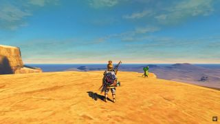 Link looks out over a cliff at the beginning of Labors of the Hero Quest, part of the Second Wind mod