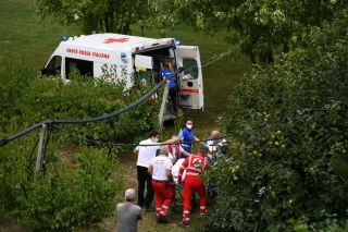 IMOLA ITALY SEPTEMBER 24 Chloe Dygert of The United States Crash Injury Accident Doctors Red cross Ambulance during the 93rd UCI Road World Championships 2020 Women Elite Individual Time Trial a 317km stage from Imola to Imola ITT ImolaEr2020 Imola2020 on September 24 2020 in Imola Italy Photo by Tim de WaeleGetty Images