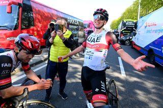 Tadej Pogacar (UAE Team Emirates) celebrates his Liège-Bastogne-Liège win