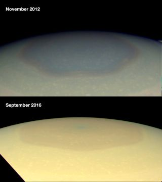 In 2012, large hexagon on Saturn's north pole is shown dark brown. In 2016, it's golden, much like its surroundings.