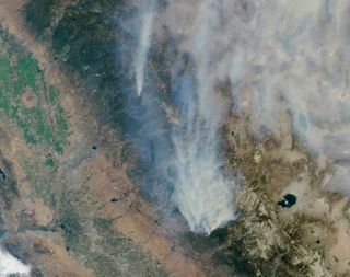 California Rim Wildfire Seen From Space