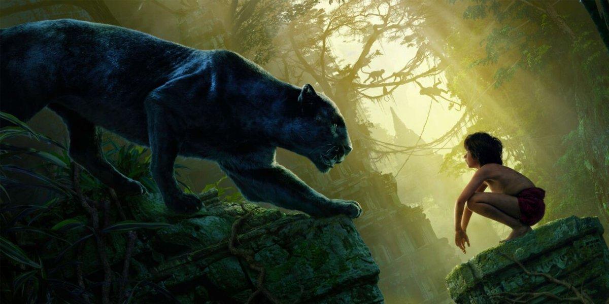 Bagheera (Ben Kingsley) and Mowgli (Neel Sethi) in The Jungle Book