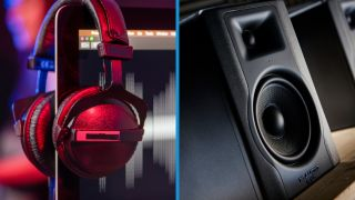Pair of headphones hanging on a computer monitor, next to an image of a single studio monitor
