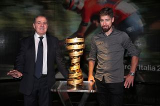 Giro d'Italia director Mauro Vegni and Peter Sagan at the 2020 race presentation.