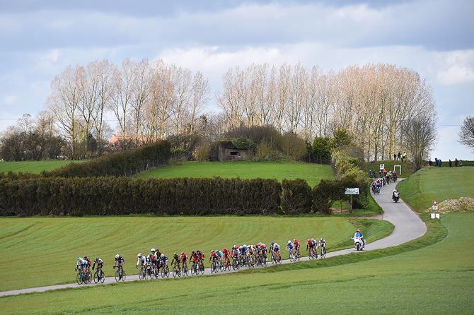 The peloton racing through the green hills at Gent-Wevelgem