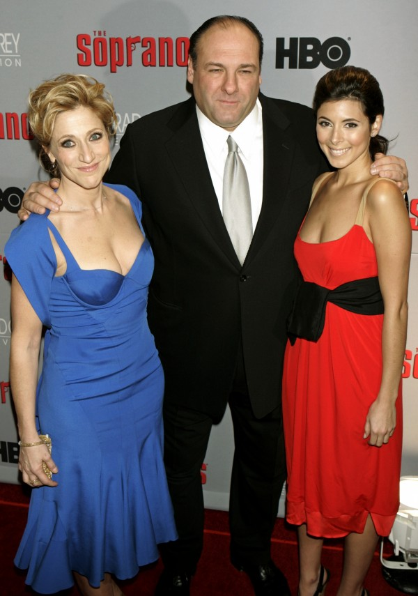 Cast members of the hit HBO television series The Sopranos, pictured from left, Edie Falco, James Gandolfini and Jamie-Lynn Sigler, arrive at the world premiere of the sixth season in New York