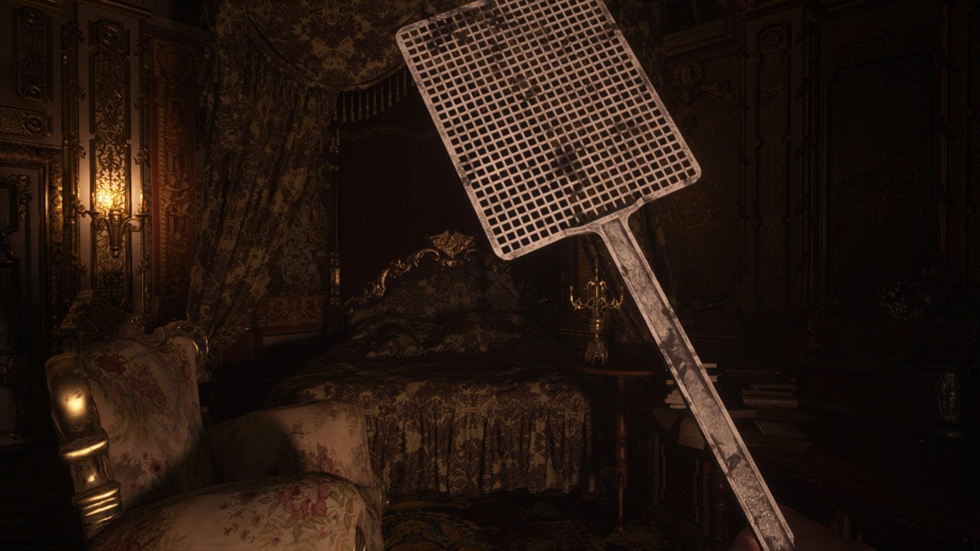 Modded resident evil village to make the knife a flyswatter