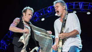 David Lee Roth and Eddie Van Halen onstage together in 2015