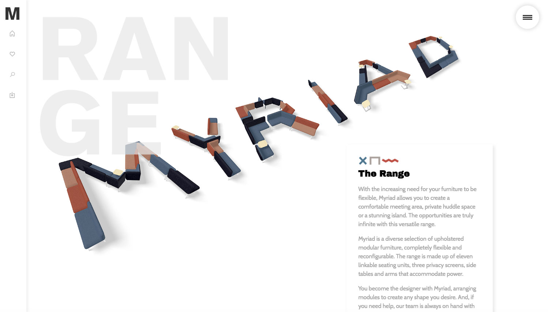 Screenshot of Myriad website shows 'Myriad' written in shapes