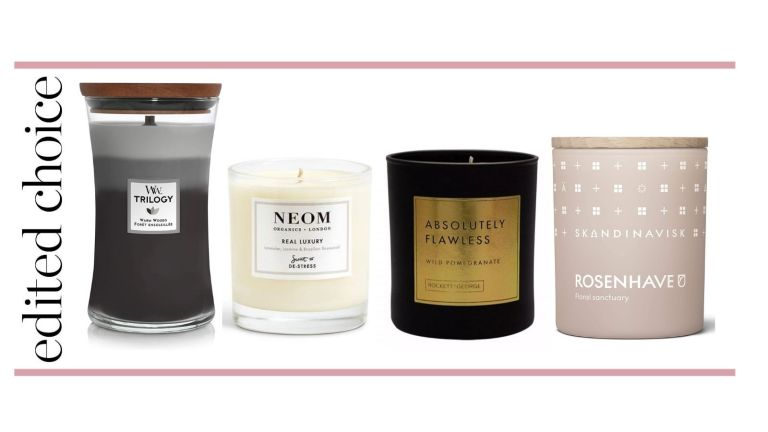 Best candles graphic – WoodWick candle, Neom candle, Rockett St George candle and Skandinavisk candle
