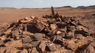 An above ground burial site dating back to the Neolithic-Chalcolithic era in AlUla in Saudi Arabia.
