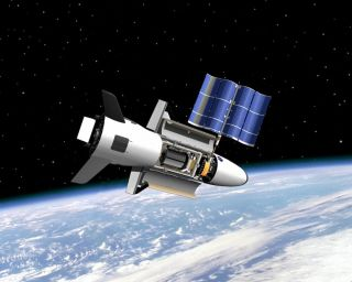 Artist's illustration of the U.S. Air Force's X-37B space plane in orbit. The vehicle's latest mission marked 675 days in space on March 25, 2017, setting a new duration record for the X-37B program.