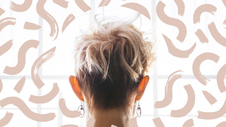 Back view of a woman with pixie haircut that is longer on the top. The head is surrounded by illustrated putty pink painterly swirls