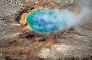 Yellowstone National Park's Grand Prismatic hot spring is one of the many hydrothermal features that are created by the Yellowstone supervolcano.