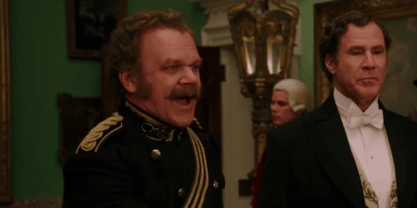 John C Reilly and Will Ferrell in Holmes and Watson greeting the queen