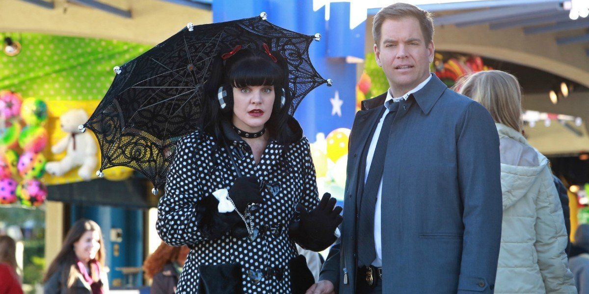Pauley Perrette as Abby Scuito and Michael Weatherly as Anthony DiNozzo on NCIS