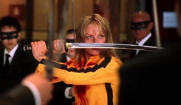 Kill Bill Vol. 1 Uma Thurman staring down the Crazy 88's over her sword