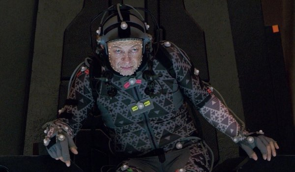 Star Wars: The Last Jedi Andy Serkis sitting in Snoke's throne in a mo-cap suit
