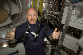 Ken Bowersox in the Quest Airlock Aboard the ISS