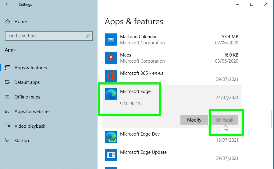 how to uninstall Microsoft Edge - uninstall app