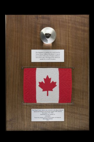 Close-up of the Canadian Apollo 17 moon rock, gifted to the country by NASA in 1973, shortly after the final moon mission. The item is on display at the Canadian Museum of Nature until at least Oct. 25.