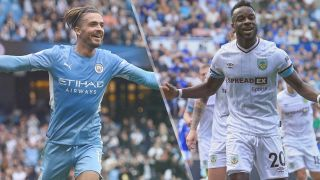 Jack Grealish of Manchester City and Maxwel Cornet of Burnley