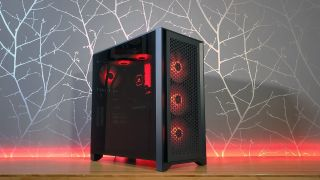 Image of a gaming PC with red RGB lights.