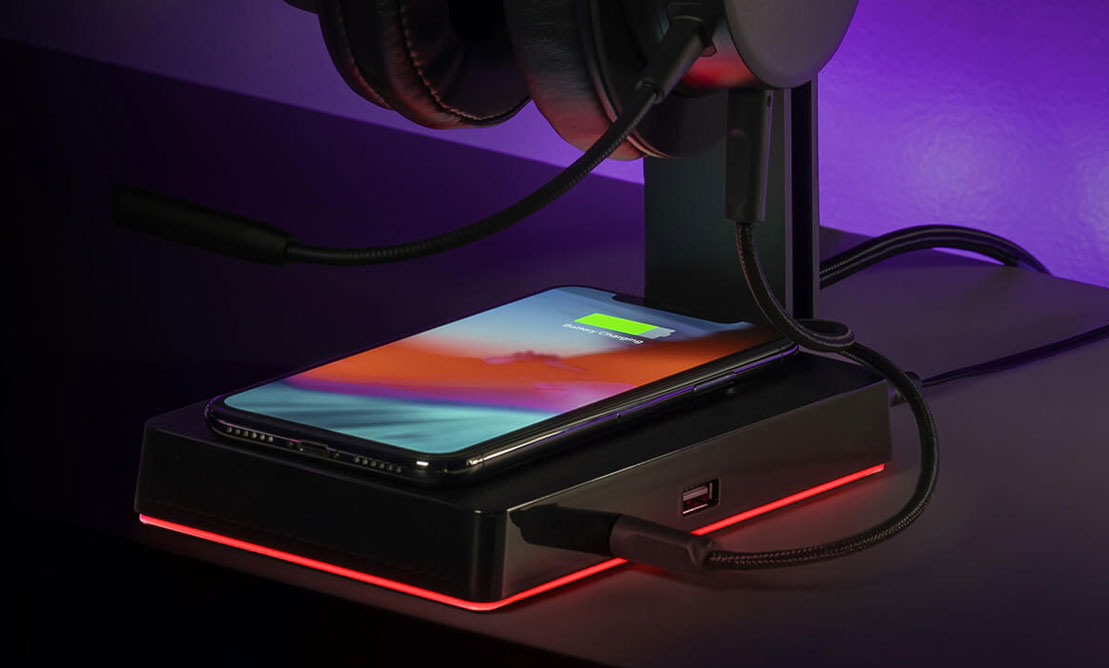 This headset stand doubles as a wireless charger for your phone or mouse | PC Gamer