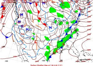 A surface weather map for Jan. 1, 2013, shows a cold front and a warm front.