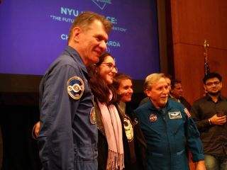 Charles Camarda and Paolo Nespoli and NYU Tandon students