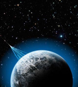 illustation of high-energy cosmic rays hitting earth.