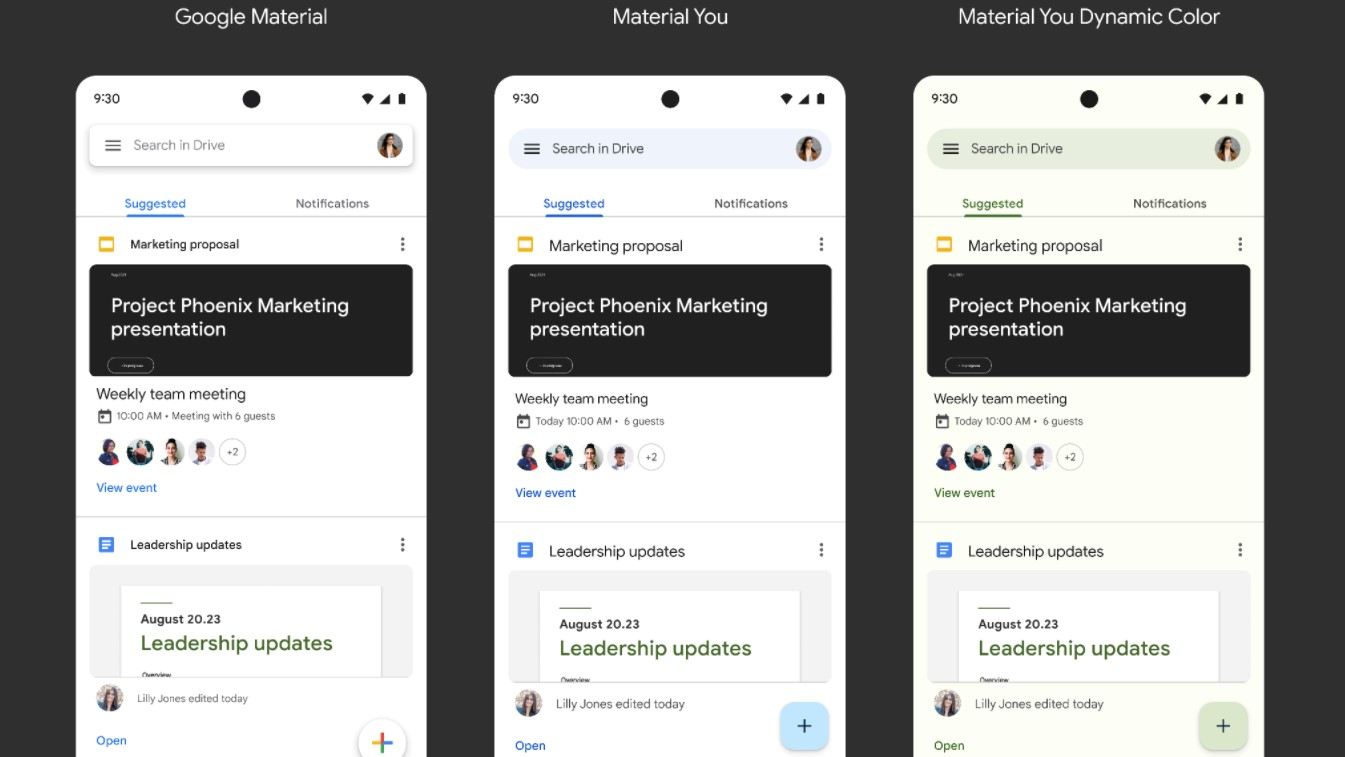 Workspace Apps Material You Redesign