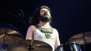 John Bonham performing during Led Zeppelin's 1977 US tour