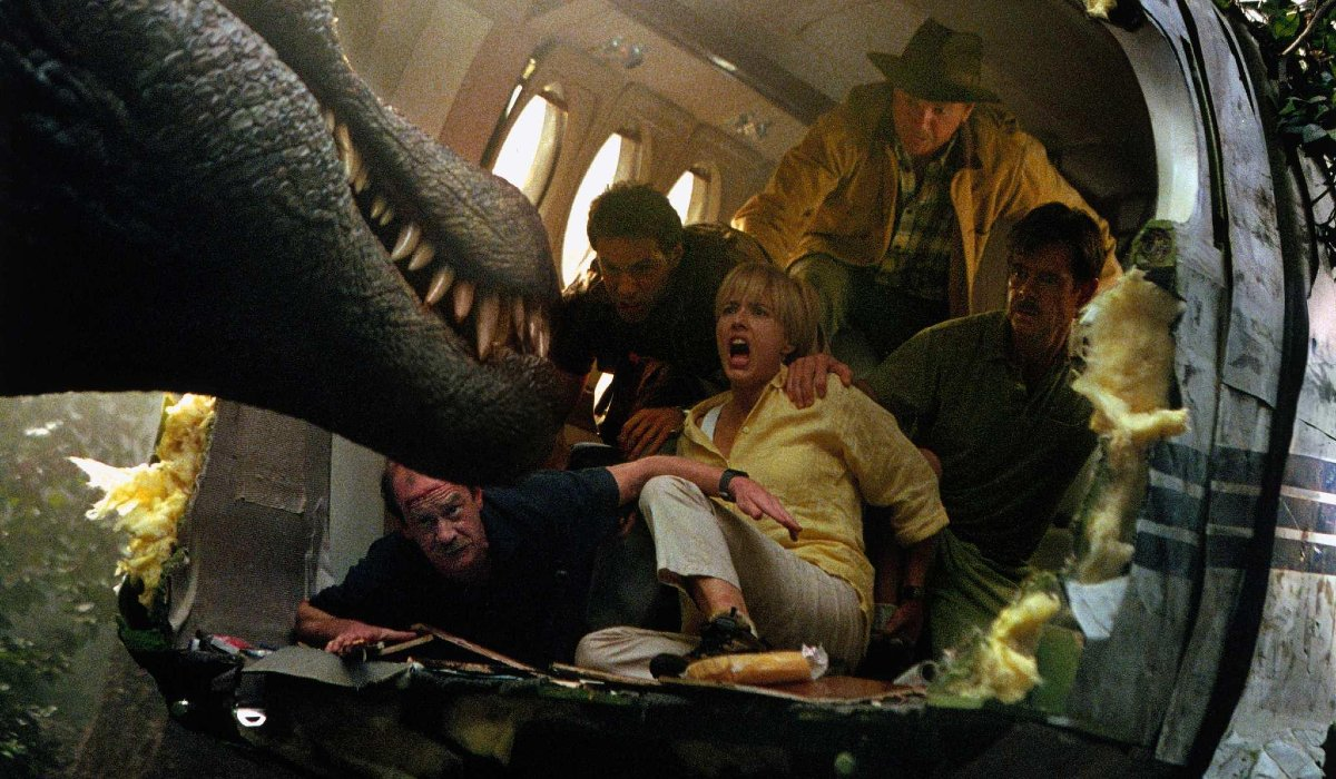 Jurassic Park III Dr. Grant and his fellow survivors trying to hide from a Spinosaurus
