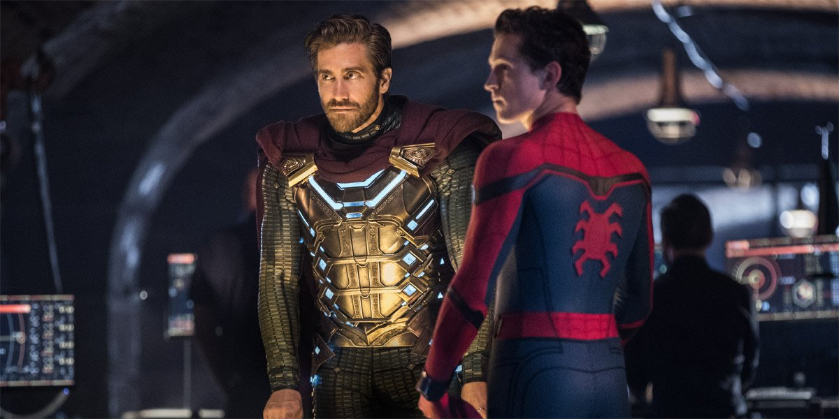 Jake Gyllenhaal as Mysterio at Tom Holland as Spider-Man in Spider-Man: Far From Home