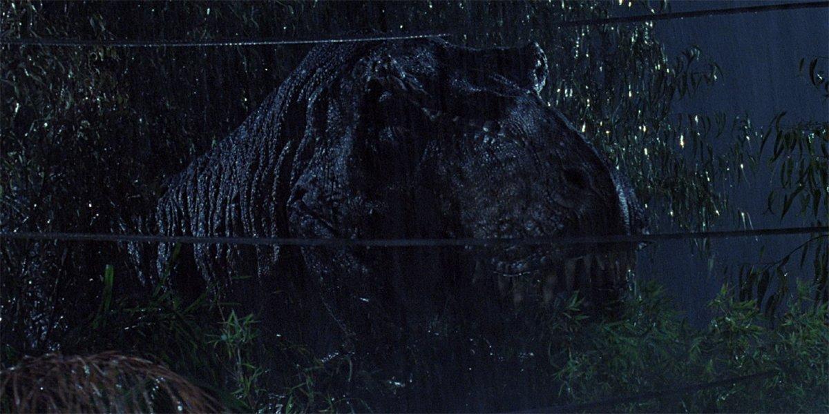 Jurassic Park T-rex in rain