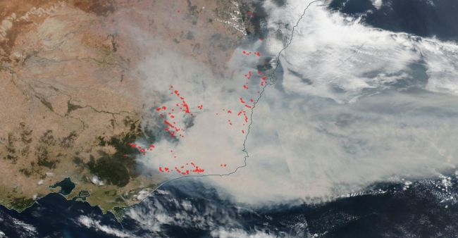 The Worldview tool from NASA's Earth Observing System Data and Information System (EOSDIS) shows this scene on Jan. 2, 2020, as wildfires continue in their intensity along the southeastern coast of Australia.
