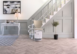 a stairlift with a curved design