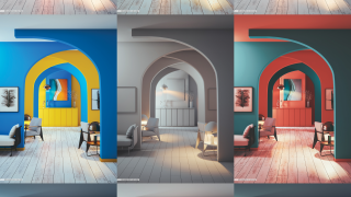 Photo of different coloured hallways
