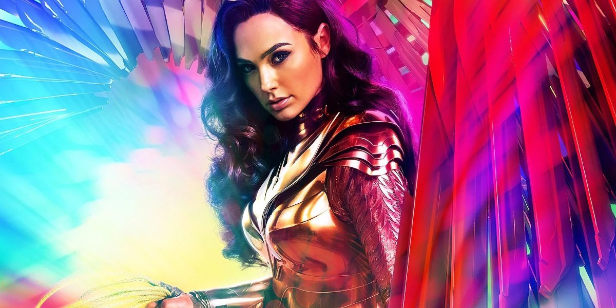Wonder Woman 1984 Gal Gadot in her armor, standing in colorful patterns